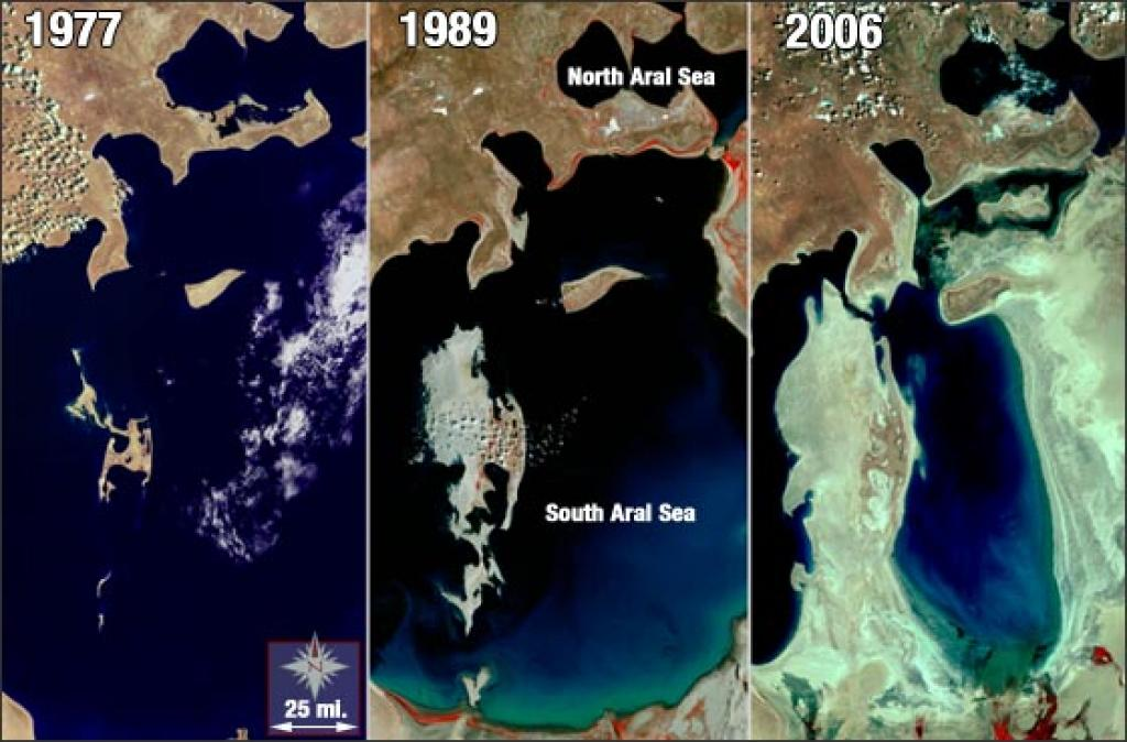 The Aral Sea lost more than half of its surface area by 2005. Credit: Columbia.edu