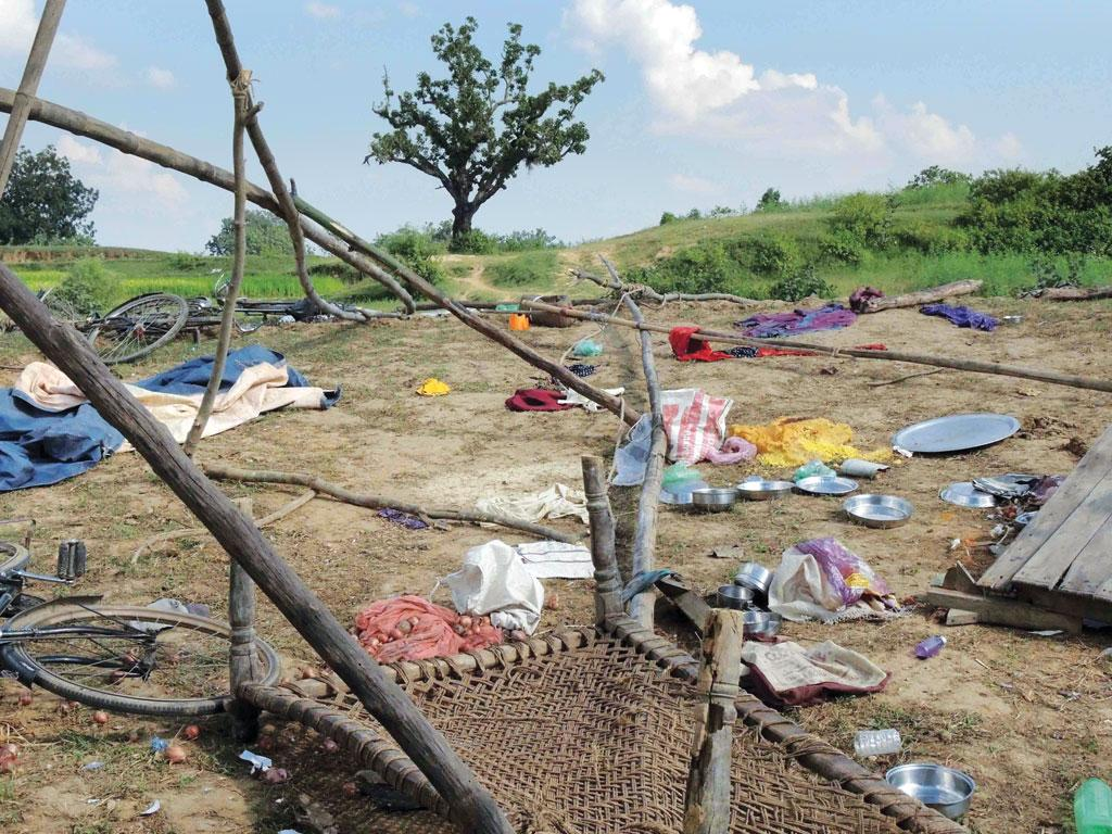 A protesters' camp destroyed by the police in Chiru Barwadih village of Hazaribagh (Photo: Manob Chowdhury)
