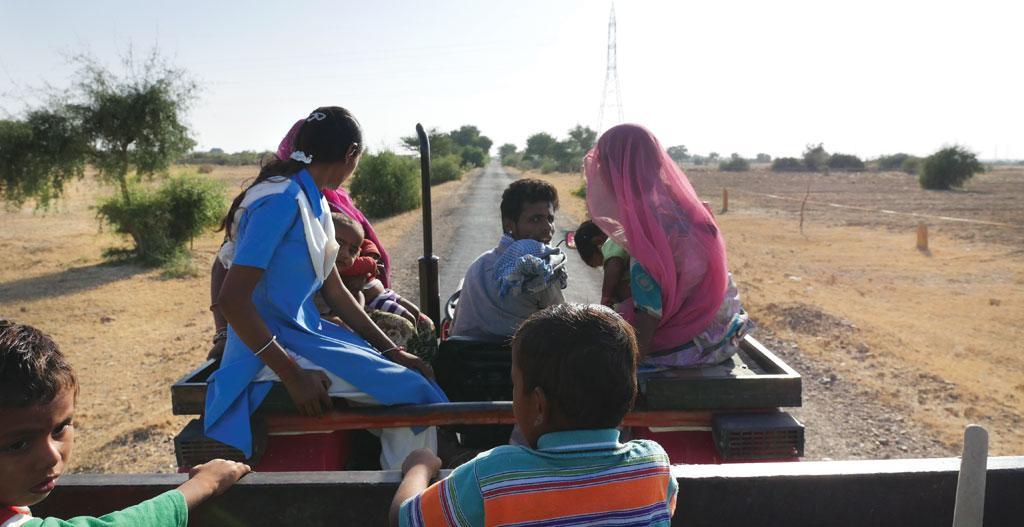 Twenty-five-year-old Khevra from Chundi village in Jaisalmer district drives us to his land to show khejri trees