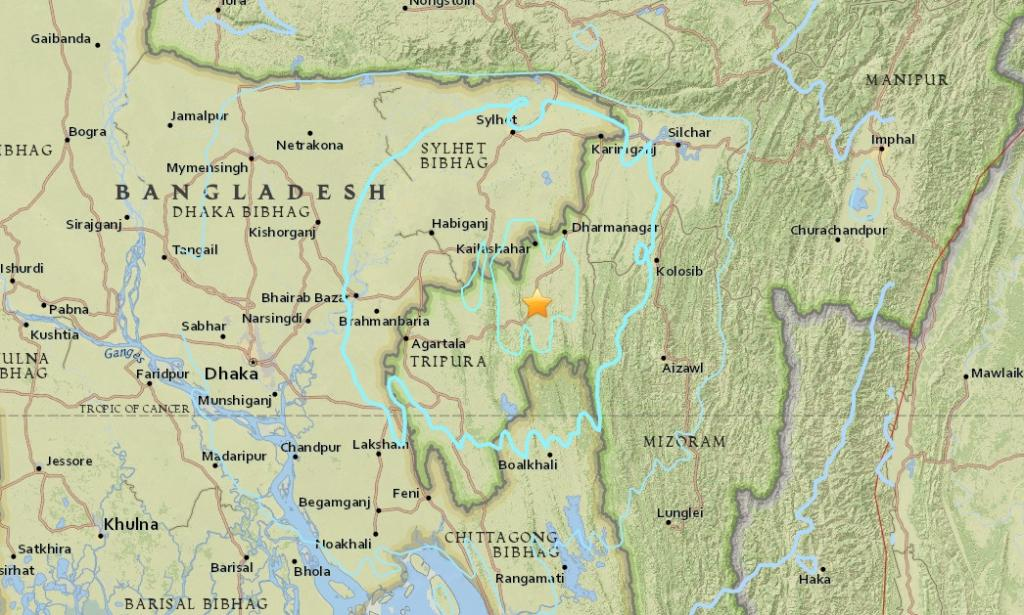 Tripura is highly vulnerable to earthquakes as it is situated on seismic zone V. Credit: USGS