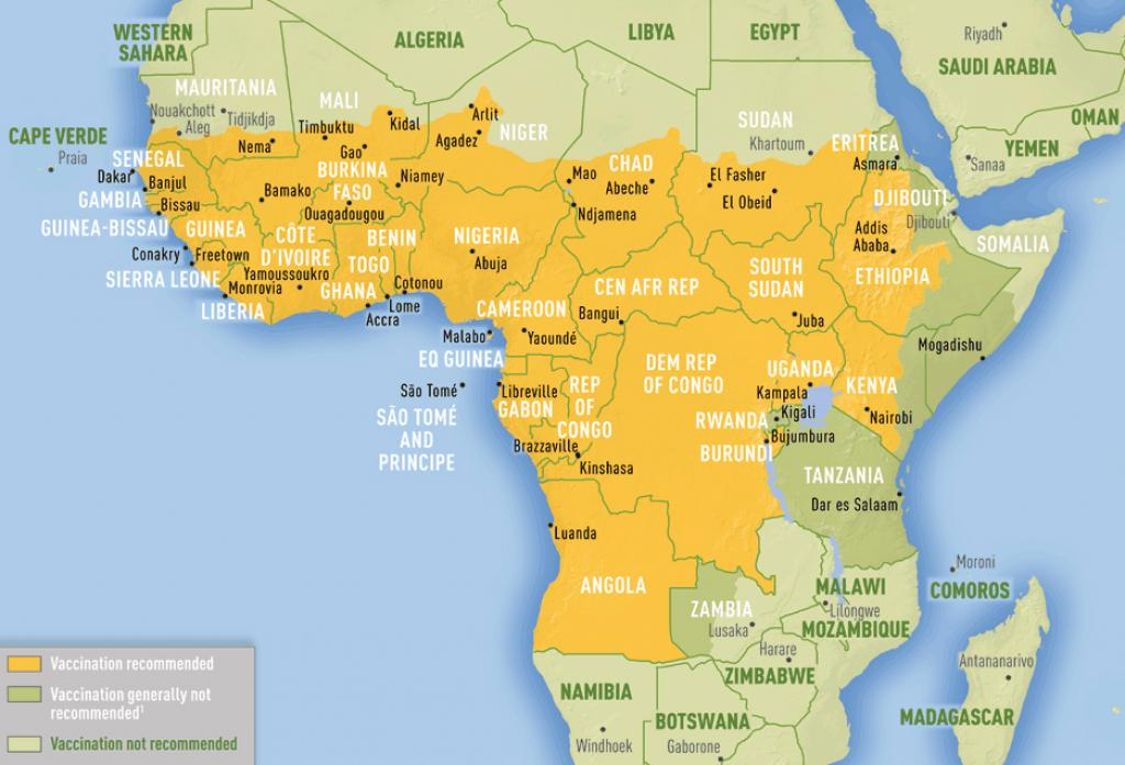 Areas with risk of yellow fever virus transmission in Africa. Credit: CDC