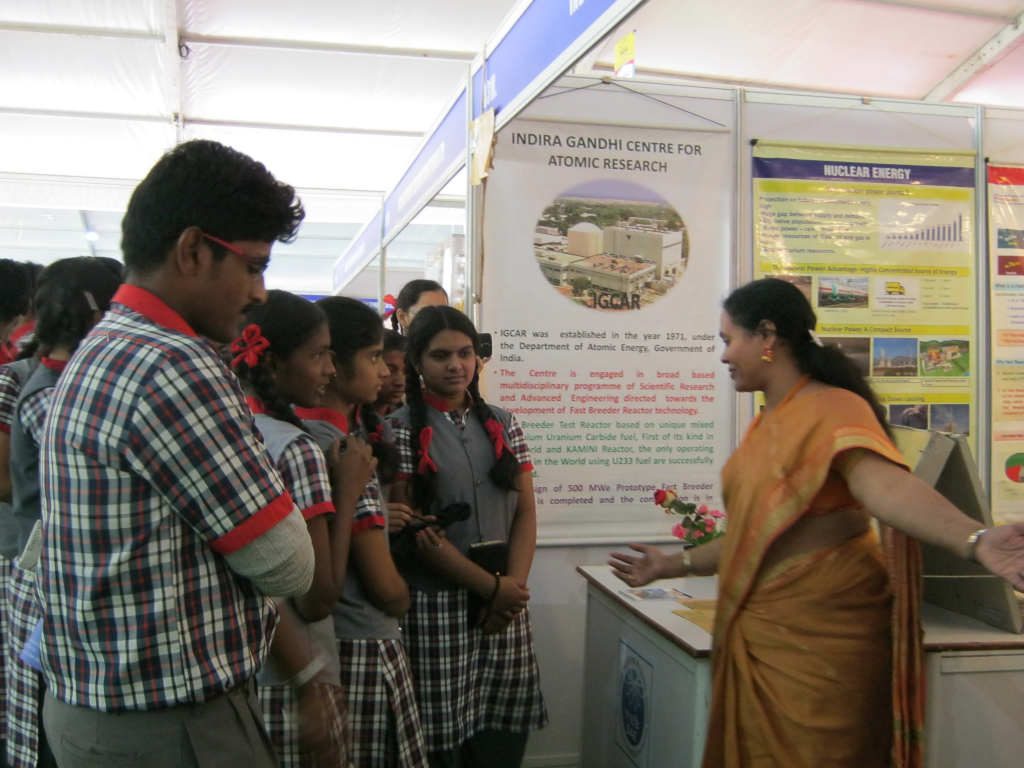 School children were taken on a hurried tour of the Pride of India exhibition and few got a chance to understand the exhibits. Participants of from public-funded institutes across India had display stalls in the event