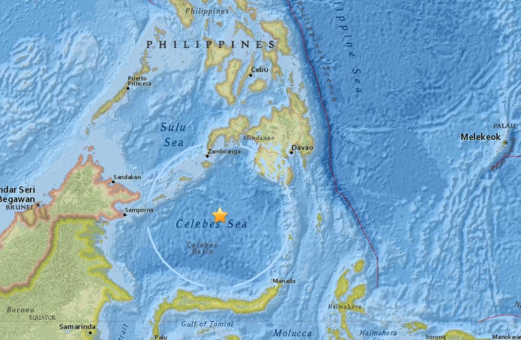 The earthquake was set off by movement of oceanic plates 625 km under the seabed. Credit: USGS