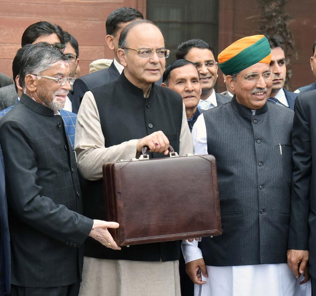 Finance Minister Arun Jaitley presented his fourth annual budget with a focus on how to transform, energise and clean India. Credit: PIB