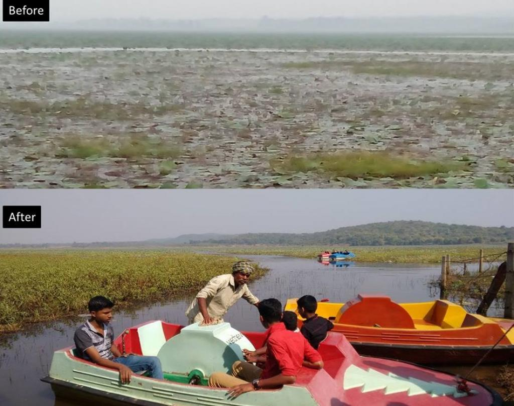 The village women were encouraged to clear the weeds themselves and revive boating facility as a source of income. Credit: Goonj