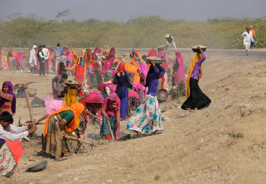 Unskilled manual work through MGNREGA is dominated by women as men migrate for work. Here, a group of villagers, largely women, repair a road near Jaipur in Rajasthan (Credit: Vikas Choudhary/CSE)