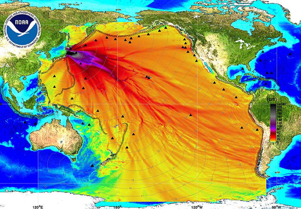 Map released by the US National Oceanic and Atmospheric Administration (NOAA) that shows the radioactive waste released by the Fukushima plant spreading across the Pacific Ocean Credit: NOAA