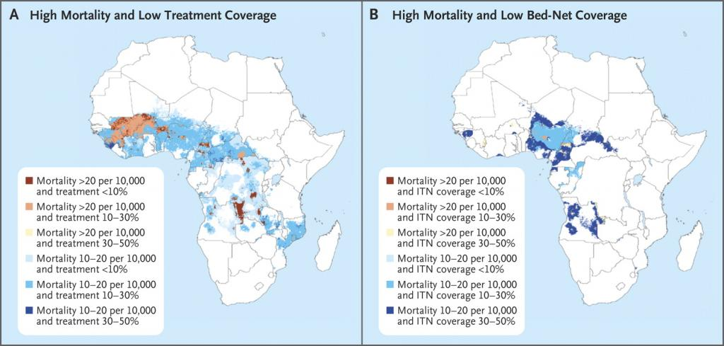 Low treatment and bed-net coverage in Africa. Credit: Peter W. Gething, et al./ New England Journal of Medicine