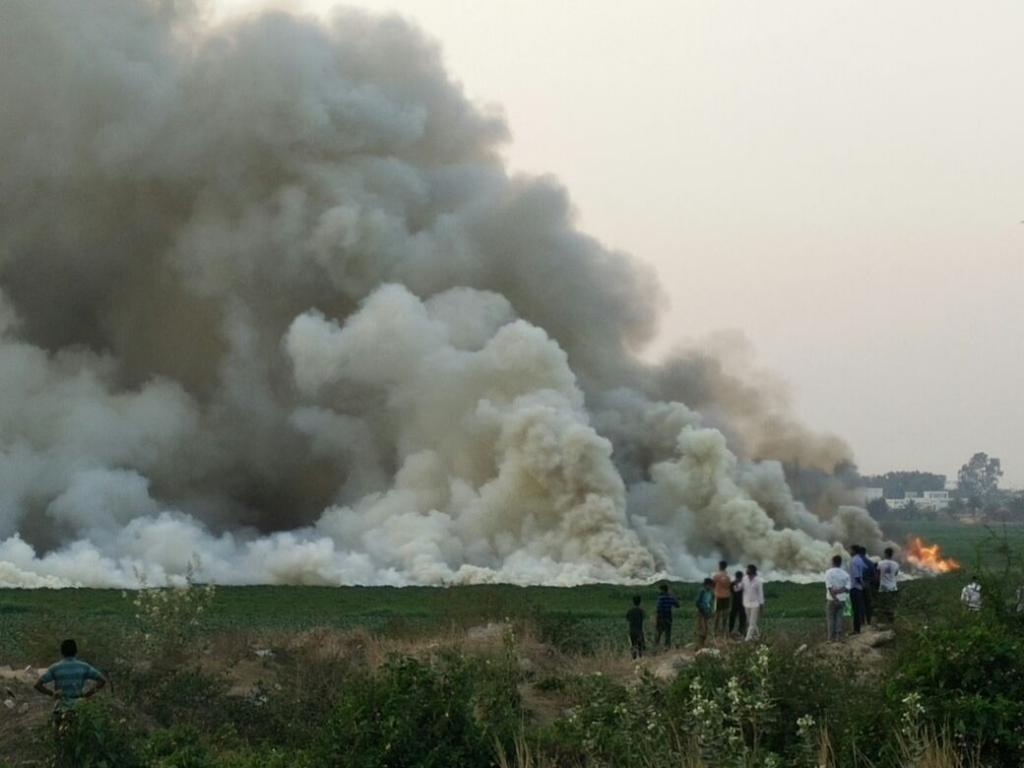The Bellandur Lake in Bengaluru caught fire as recently as May 7, as per media reports (Credit: DCP Traffic East / Twitter)