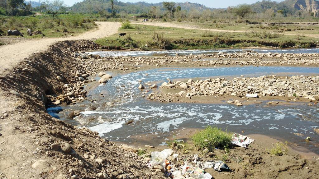 Treated wastewater and untreated effluents flow directly into the Sirsa river