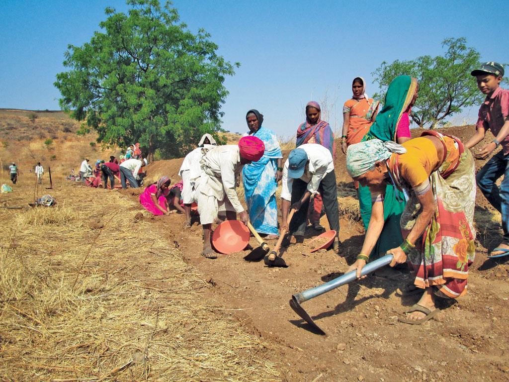 किराकसल गांव में श्रमदान कर जल संचयन संरचनाओं का निर्माण करते ग्रामीण (निधि जामवाल)