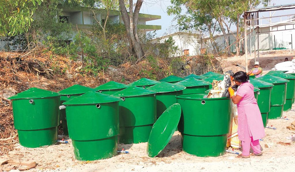 All waste is segregated. Food waste is composted using the