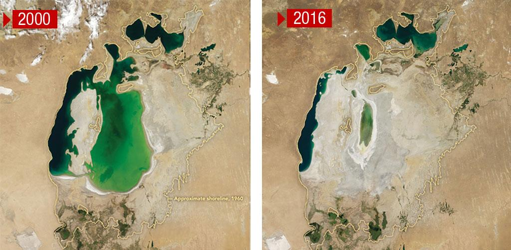 From being as big as the state of Punjab, the Aral Sea is now smaller than Goa because of the re-routing of the river basins for cotton cultivation. Over 90 per cent of the volume of water is lost (Credit: NASA)