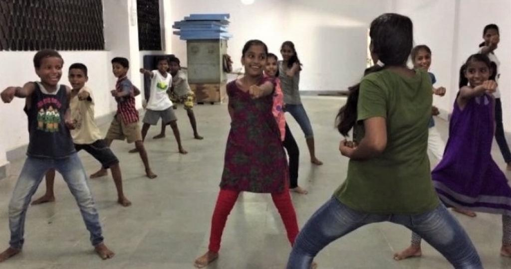 Apart from studying in a college, she teaches Karate to many young girls. Credit: CRY