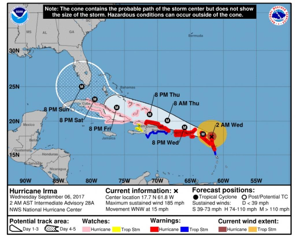Irma is now on a course to hit several Caribbean islands, including Puerto Rico. Credit: National Hurricane Center