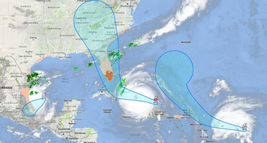 Location of three Atlantic hurricanes as on 8 PM IST, Sep 8. Credit: Google Map