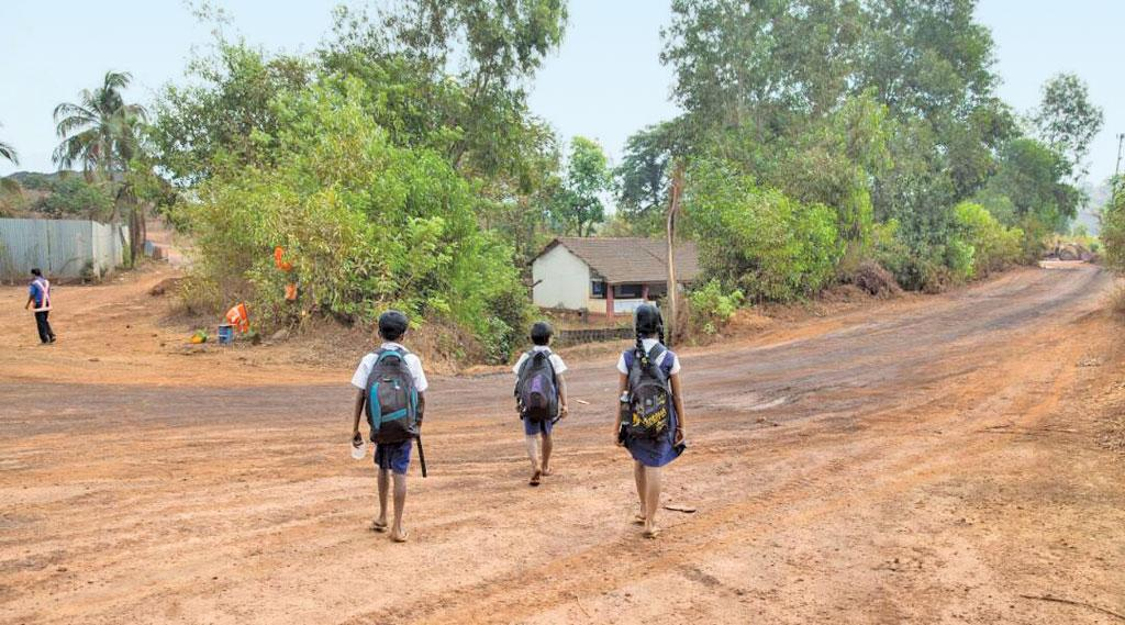 The only school in Sonshi village is next to the road on which over 1,000 trucks ply, making six-seven trips a day, when mining activities are undertaken. Noise and air pollution dissuades students and teachers from coming to the school (Photo: Samruddha