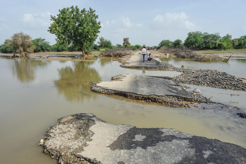 जालौर जिले के होती गांव  में सात बरसाती नदियां आकर मिलती हैं। इन नदियों में इस साल आई बाढ़ ने अपना रौद्र रूप दिखाया है (फोटो: आदित्यन पीसी / सीएसई)