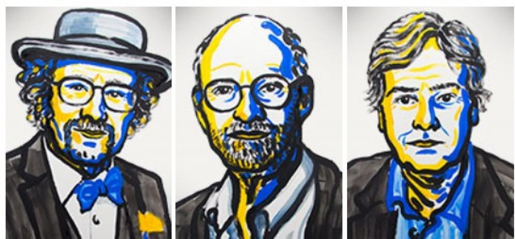 (Left to Right) Jeffrey C. Hall, Michael Rosbash and Michael W. Young. Credit: Nobel Media