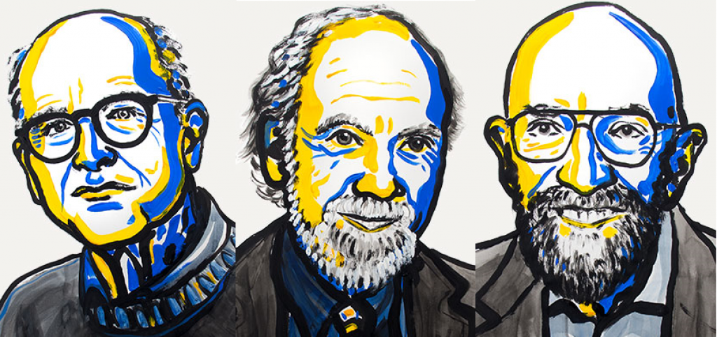 (Left to Right) Rainer Weiss,Barry Barish and Kip Thorne (Credit: Nobel Media)