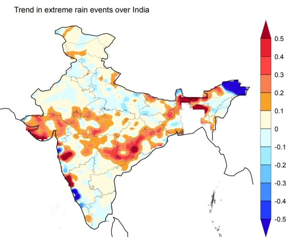 Most of these events are widespread across a large area over central India , resulting in large-scale floods. Credit: Nature journal