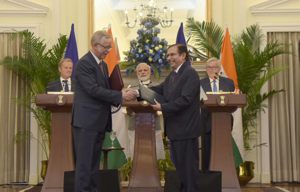 Both India and EU are natural partners and both share common concern over issues of global governance like climate change. Credit: Press Information Bureau