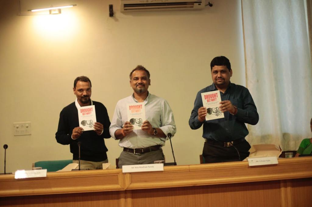 (From left) Down To Earth's Managing Editor Richard Mahapatra, Nila Madhab Panda and Eshwer Kale of Watershed Organisation Trust  Credit: Vikas Choudhary