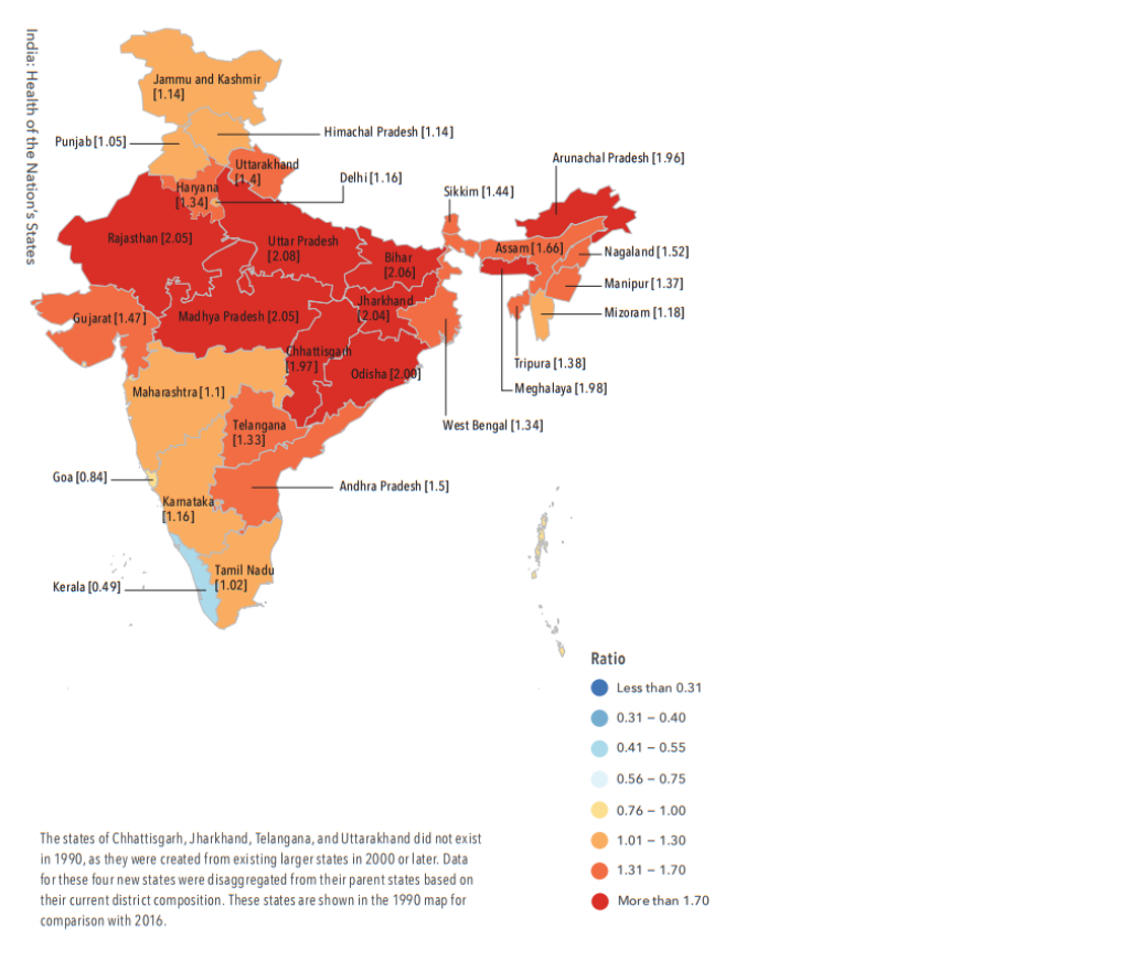 Epidemiological transition ratios of the states of India, 1990