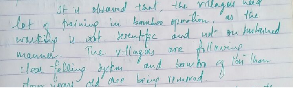 Note by Vishwanath Neelannavar, the Divisional Forest Officer, North Kalahandi in a visitor's register. Photo: author.