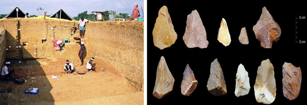 Excavation site in Tamil Nadu (Left) and Stone tools found by Indian scientists (Right). Credit: India Science Wire