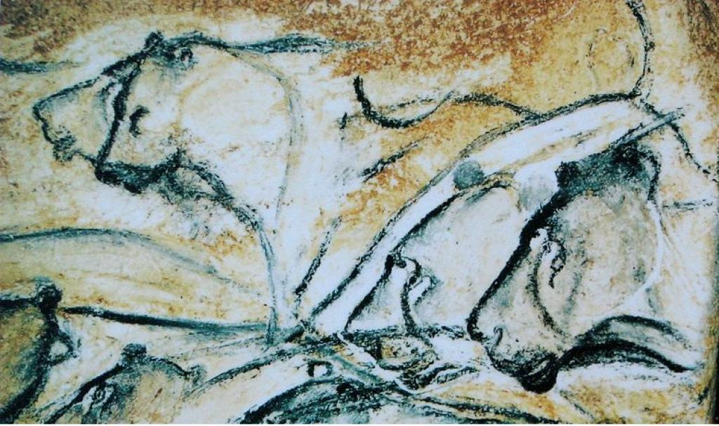Replica of an image of lions painted in the Chauvet Cave. Credit: Wikipedia