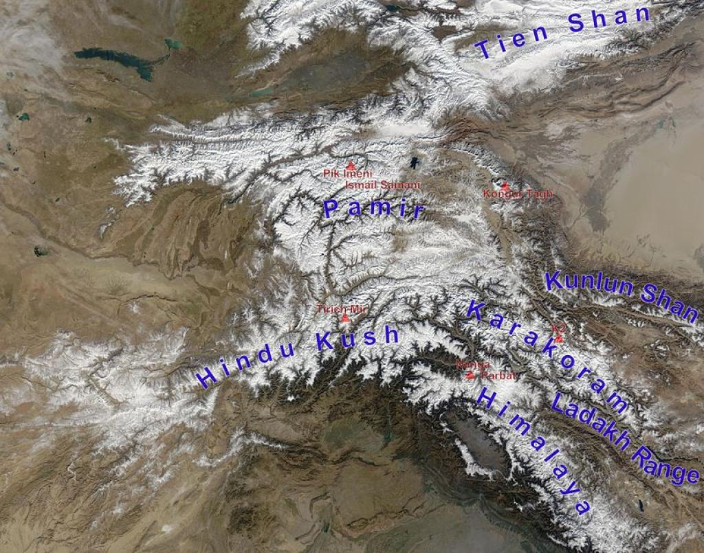 The High Mountain Asia Region consists of major mountain ranges or chains such as the Himalayas, Hindu Kush, Pamirs, Karakoram and Kunlun Shan Credit: Wikimedia