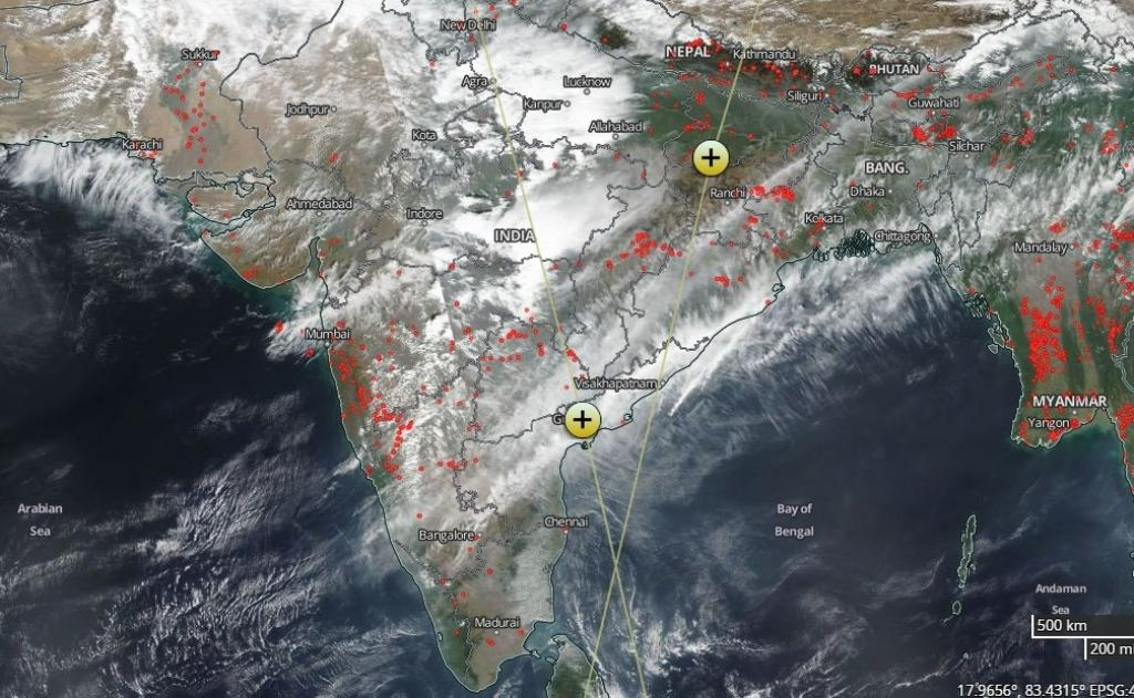 A satellite image released by NASA on biomass burning incidents on February 11, 2018. Credit: NASA