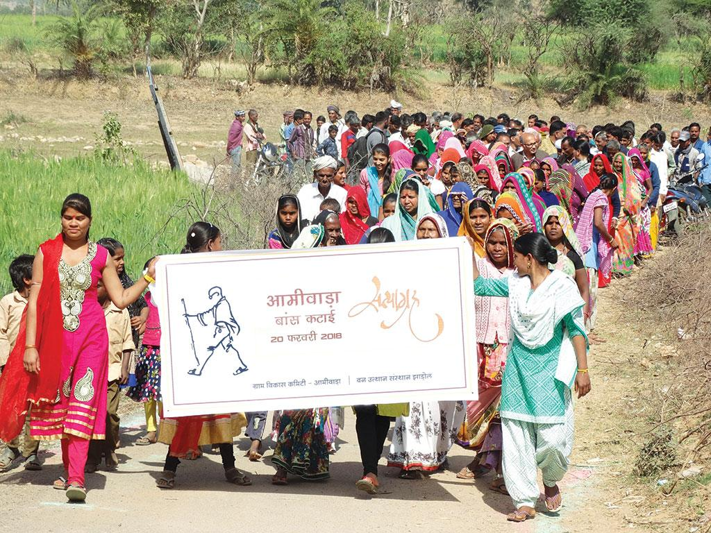 Residents of 16 villages in Udaipur district asserted their rights during the  bamboo satyagraha on February 21 (Courtesy: Seva Mandir)