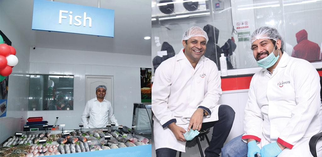 (Left) Nishanth Chandran, proprietor of TenderCuts.  Vivek Gupta  and Abhay Hanjura inside the Licious production centre lab in Bengaluru (Photo courtesy: Licious and TenderCuts)