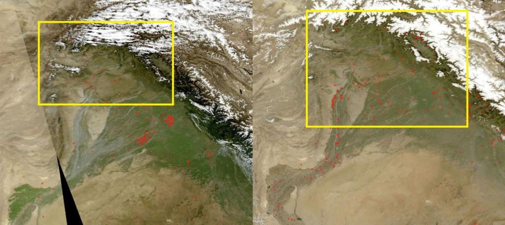 Fire incidents in Jammu & Kashmir on October 1, 2017 (left) and April 1, 2018 (right). Credit: NASA Fire Mapper