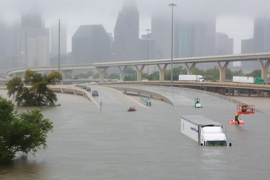 A highway in Houston, Texas, submerged by the flood waters of hurricane Harvey on August 27 (Photo: Reuters)
