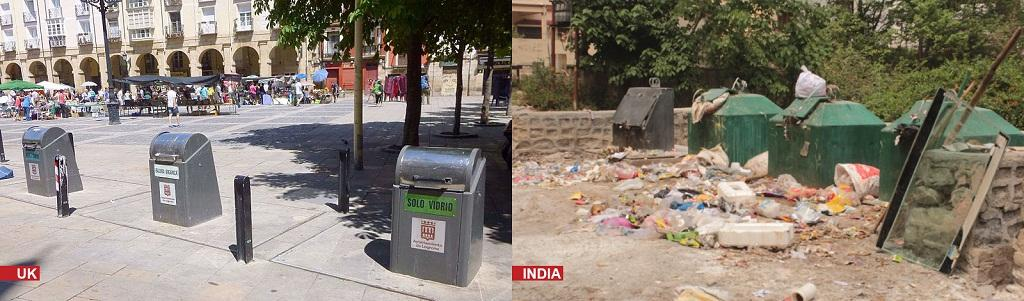 The underground bins in Dehradun overflow with garbage due to insufficient capacity, lack for labeling for segregation as well as awareness programmes for residents. Credit: Wikimedia commons (Spain, left) and R Shrivastava (India, right)
