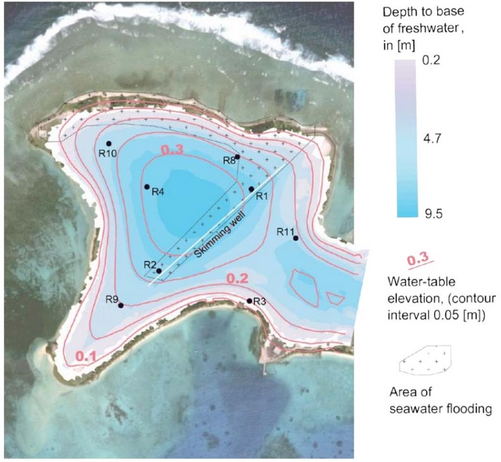 Patterned area shows extent of seawater flooding. Credit: Research paper