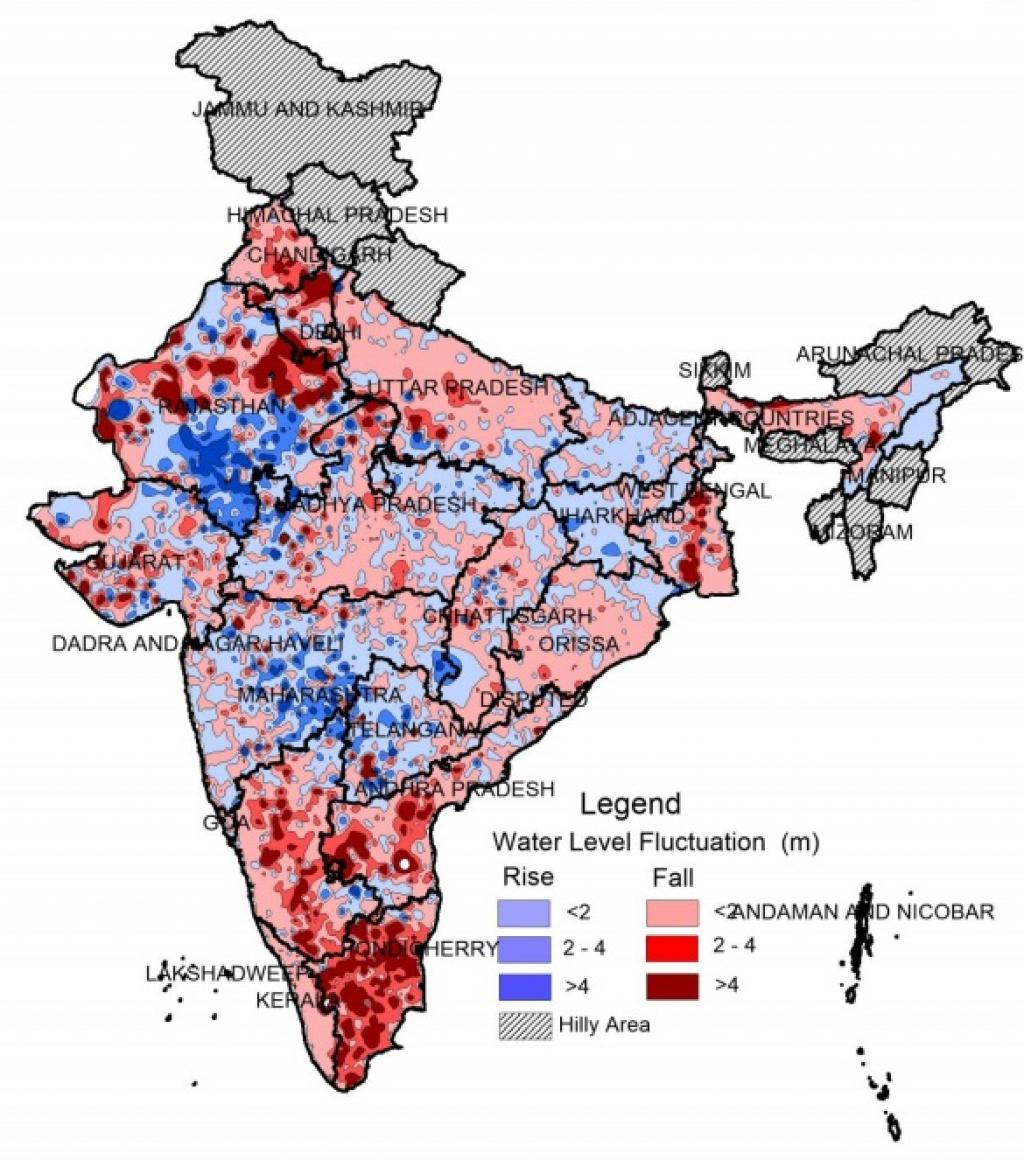 Water level fluctuation between 2007-17. Credit: Groundwater Yearbook