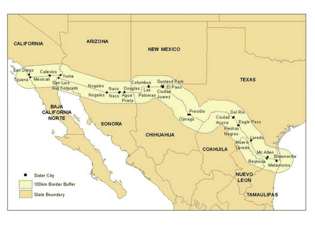 A map of the US-Mexico Border        Credit: Wikimedia Commons