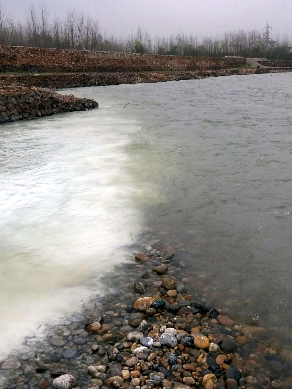 Polluted water (white in colour) of the Subhan Khawar converges into Kabul river at Shabqadar Tehsil of Charsadda district. Credit: Adeel Saeed
