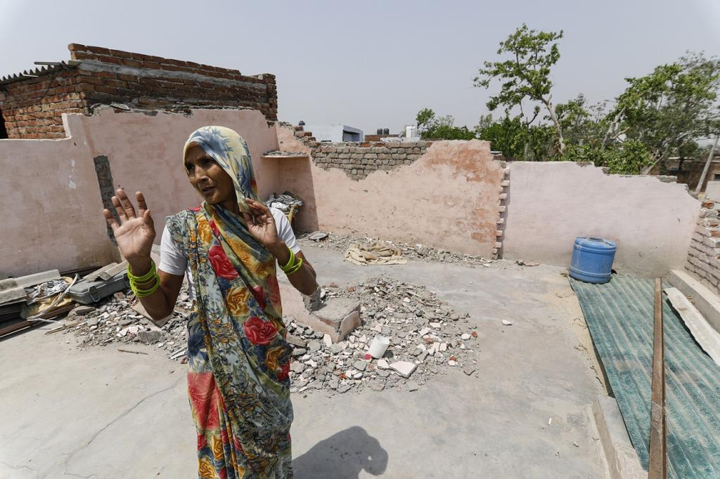 A portion of the roof in this house in Bharatpur district of Rajasthan caved in during the storm. Credit: Vikas Choudhary