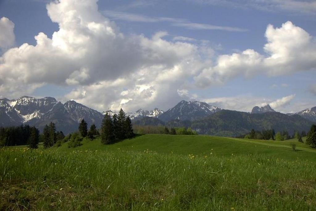 The Bavarian countryside and Alps      Credit: Wikimedia Commons