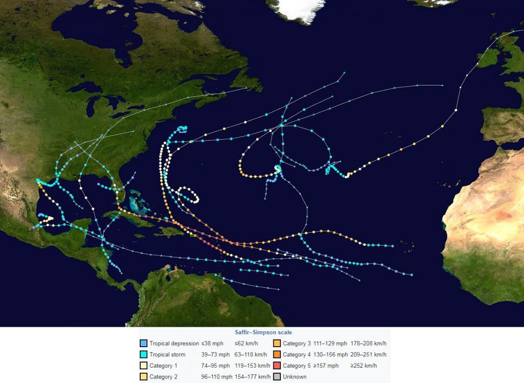 The 2017 Atlantic hurricane season summary map. Credit: Wikimedia Commons