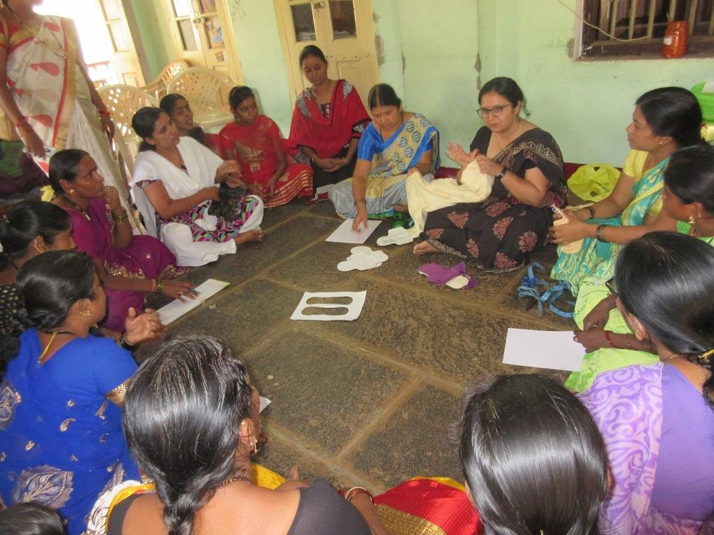 Women attending a training session on making cloth pads in Dharwad. Credit: Girija Meti/Swayam Deep