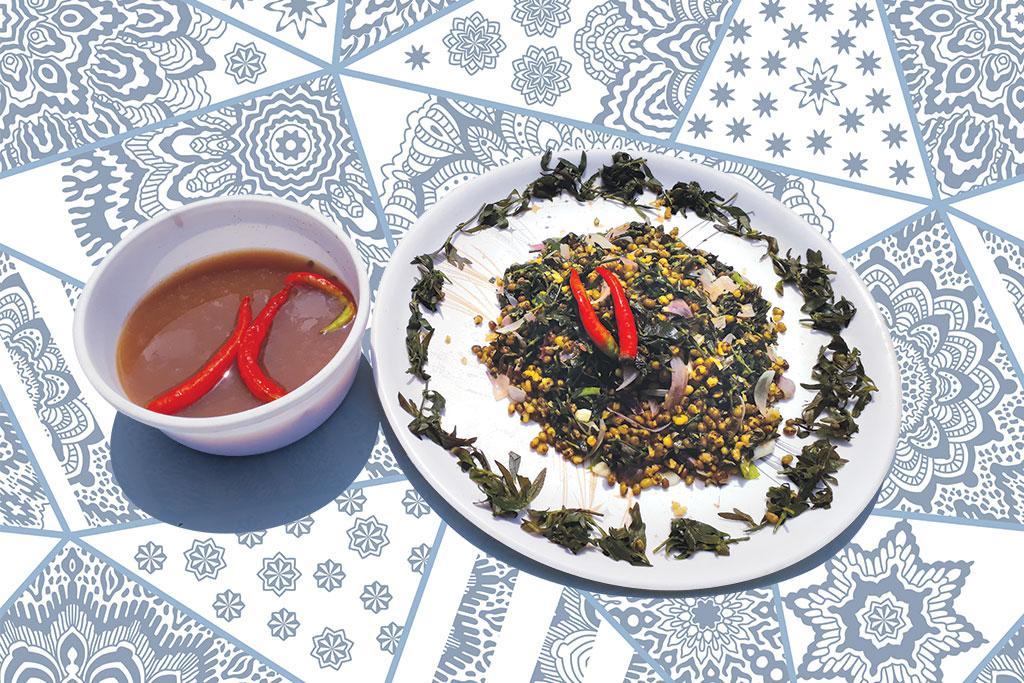 Prepared from anagone soppu, bassaru (left)  and soppina palya are rich in iron, calcium, phosphorus, and vitamins C and B complex (Photographs: Harisha R P)