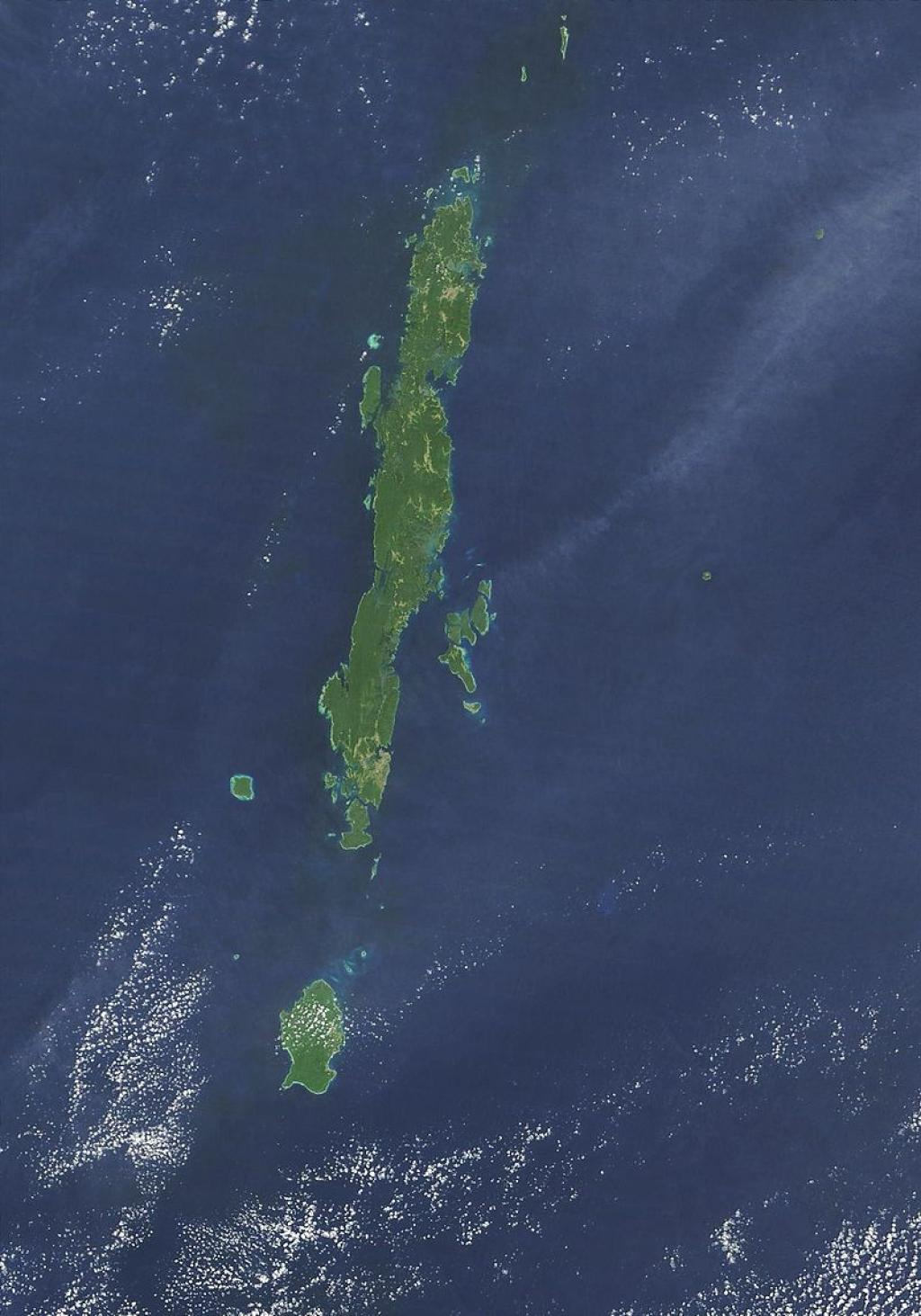 A satellite photo of the Andaman Archipelago        Credit: Wikimedia Commons