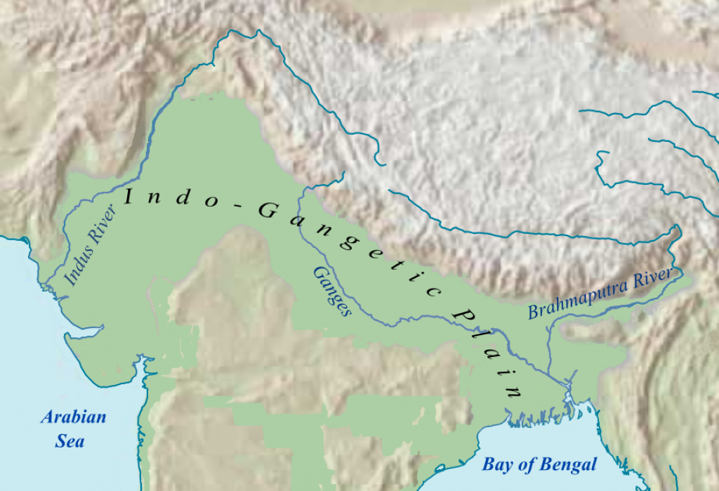 The Indo-Gangetic Plain, spread over Eastern Pakistan, Northern India and most of Bangladesh is formed by the alluvial deposits of the rivers Indus, Ganges and Brahmaputra           Credit: Wikimedia Commons