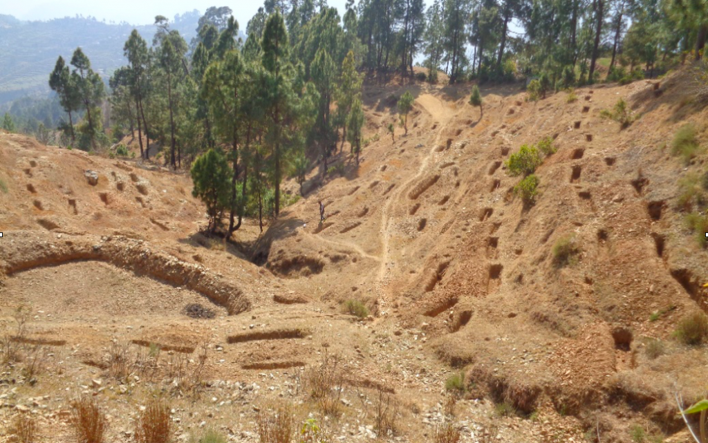 Contour trenches were created to prevent rainwater runoff. Credit: Tata Water Mission